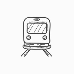Back view of train sketch icon.