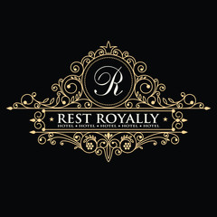 Template golden monogram. Elegant emblem logo for restaurants, hotels, bars and boutiques. It can be used to design business cards, invitations, booklets and brochures