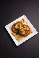 Aloo Tikki  or cutlet or aalu patties - A north Indian snack made of boiled potatoes and various spices