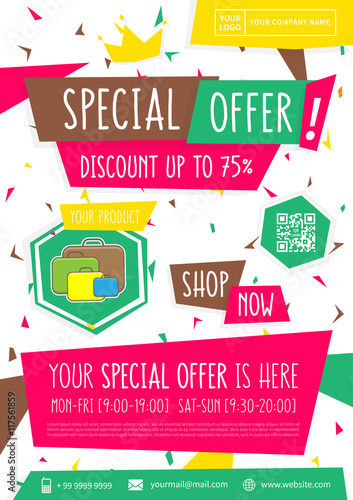 Promotion Banner Special Offer Vector Illustration. Advertising Poster  Design. A4 Size, Ready To  Advertising Poster Templates