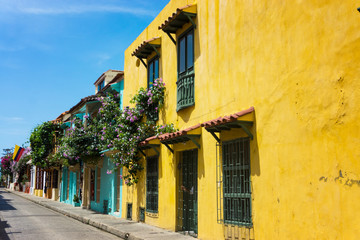 Fototapete - Colorful Cartagena Street