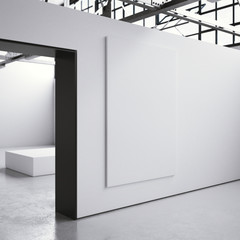 White billboard on the wall in mdoern interior. 3d rendering
