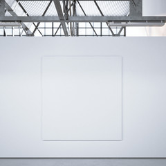 White square canvas on the wall. 3d rendering