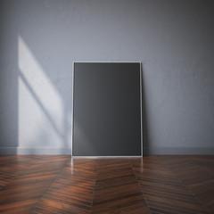 Black canvas on the wooden floor. 3d rendering