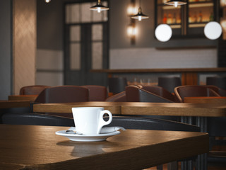 Coffee cup on the wooden table in restaurant. 3d rendering