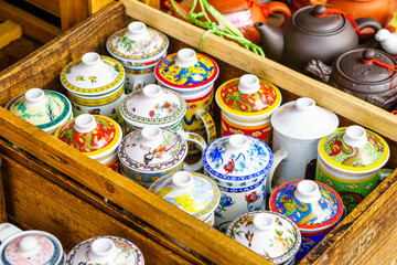 Many Beautiful Tea cups and Tea pots in China town Market Thaila