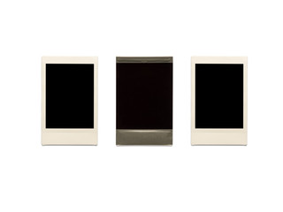 blank photos frame isolated on white background and clipping path
