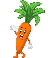 Cartoon funny carrot waving hand