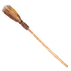 watercolor drawing broom