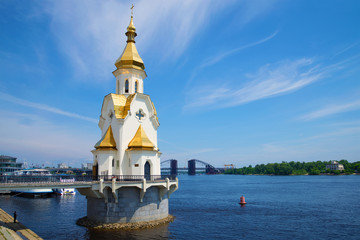 The Church of St. Nicholas on the waters, sunny summer day. Kiev, Ukraine