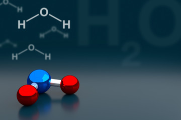 Water or H2O Molecule Background, 3D Rendering