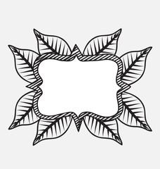 Vintage frame leafs design decoration