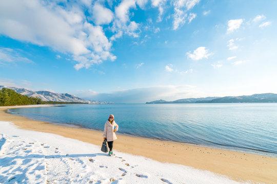 Amanohashidate Sandbar beach in winter morning