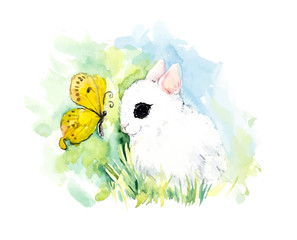 Rabbits with butterflies. Watercolor hand drawing vector illustration. Spring composition.