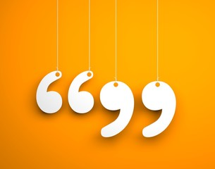 Quote sign - text hanging on the ropes. 3d illustration