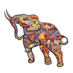 Elephant with elegant decorative pattern with posting of Thai tr