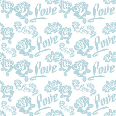 "Seamless pattern with single word ""love"" and roses silhouettes. Original custom hand lettering. Vector clip art."