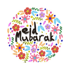Greeting Card with flowers for Eid Mubarak.
