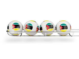 Flag of mozambique on lottery balls