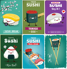 Vintage Sushi poster design with vector sushi character. Chinese word means sushi, green tea.