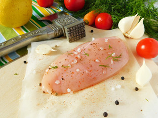 Chicken breast fillet with spices.