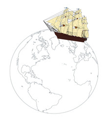 a ship on the surface of the globe. Travel Concept. vector illustration