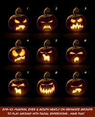 Dark Jack O Lantern Cartoon - 9 Vampire Expressions Set  Each expression on separate Layer. Pumpkin, Eyes, Mouth, Glow and Floor Glow on separate groups.