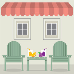 Chairs Set With Fruit Juice Under Awning And Windows Vector Illustration