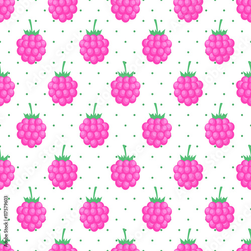 Seamless Background With Pink Raspberry Cute Vector Raspberry