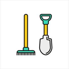 Shovel and rake icon isolated on white background