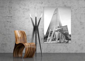 Designermöbel, Designerstuhl mit Stehlampe aus Stahl, Stuhl, Se
