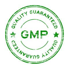 Grunge green GMP (Good manufacuturing pracice) and quality guara