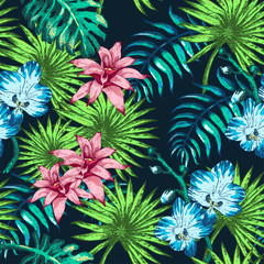 Flowers and Palm PAttern