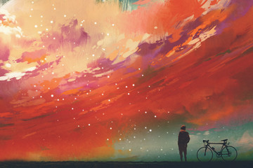 man with bicycle standing against red clouds in the sky,illustration,digital painting Wall mural