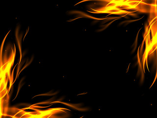 Abstract background with flames in opposite corners of the picture, vector illustration