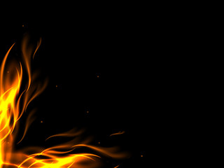 Abstract background with flames in the bottom corner of the picture, making the lower corner of the flames, vector illustration