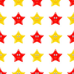 Yellow Red Star Seamless Pattern. Smiling Star Isolated on White Background