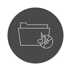 Outline document folder icon isolated on white background