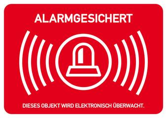 ks127 Kombi-Schild - ALARMGESICHERT Dieses Objekt wird elektronisch überwacht - DIN A2 A3 A4 Plakat - g4611