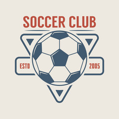 Vintage soccer or football logo, emblem, badge.