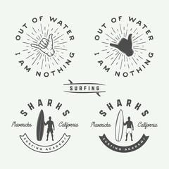 Set of vintage surfing logos, emblems, badges, labels