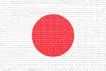 Flag of Japan on brick wall texture background