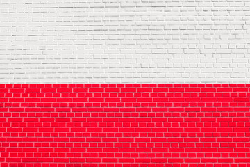Flag of Poland on brick wall texture background