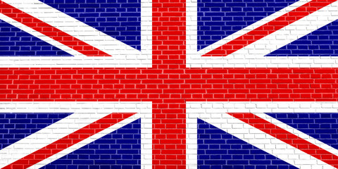 Flag of the United Kingdom on brick wall texture background
