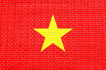 Flag of Vietnam on brick wall texture background