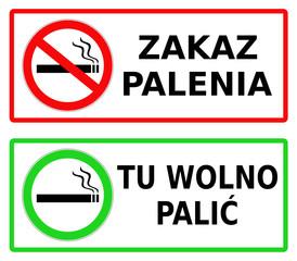 Fototapeta zakaz palenia, tu wolno palić obraz