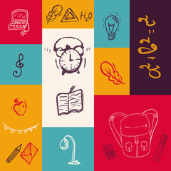 Back to School colorful banner with doodle elements. Vector illustration can be used for greeting cards, clothes.