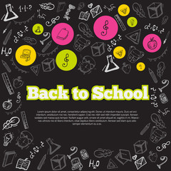 Freehand drawing school items on chalk board. Back to . Vector illustration. Modern style banner concept