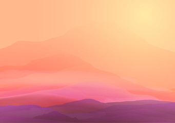 Abstract Smooth Blurred Mountain Landscape - Vector Illustration