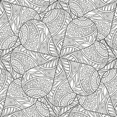 Seamless pattern of hand-drawn mandalas. Vector graphics. Monochrome range. Pattern for coloring book.
